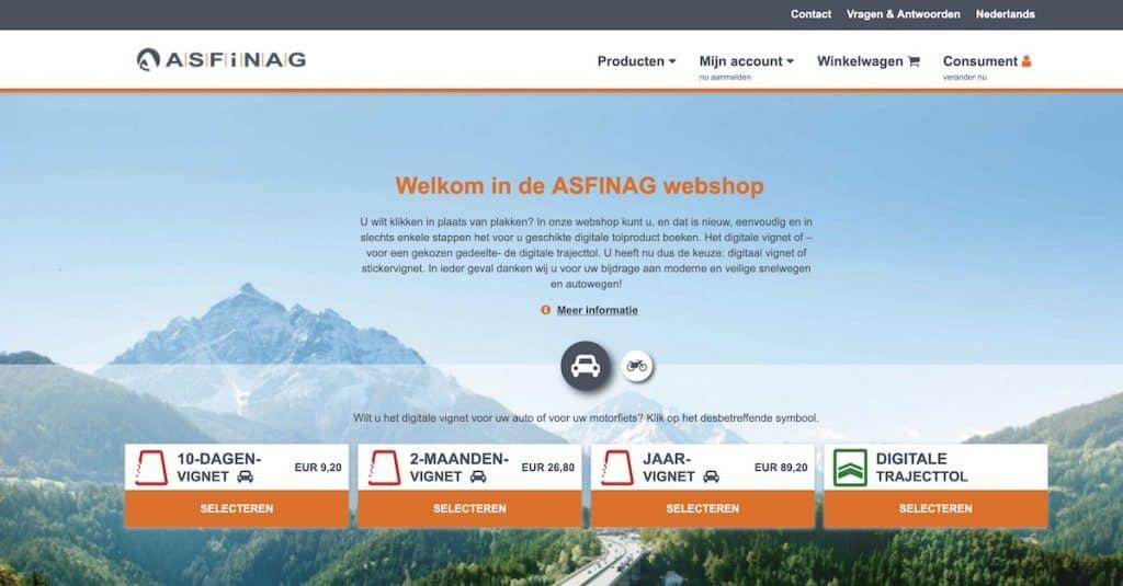 Online autobaanvignet kopen Oostenrijk