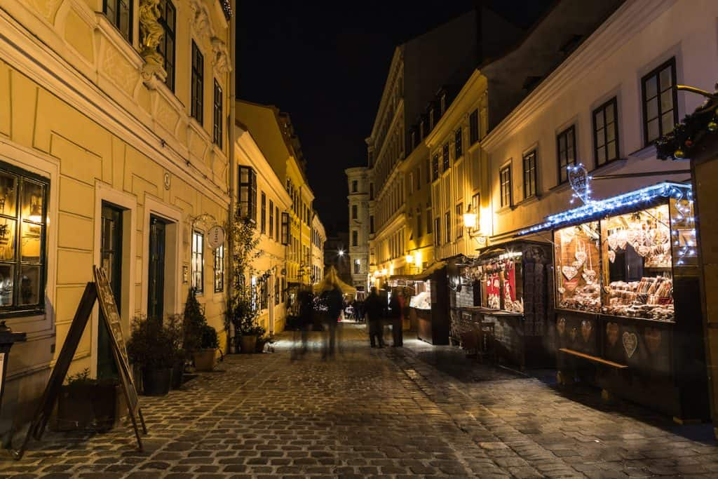 Kerstmarkt in Spittelberg Wenen